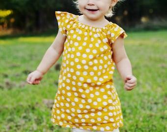 Mustard Yellow White Polka Dot Fall Thanksgiving Baby Toddler Peasant Dress