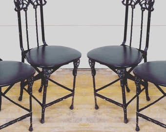 French Art Nouveau Chairs Folding Iron One pair left