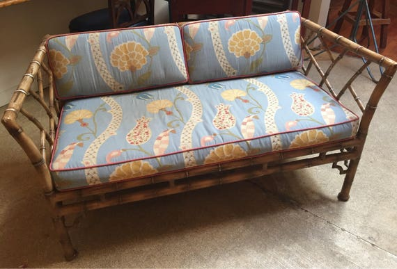 Mid Century Faux Bamboo Metal Frame Settee Etsy