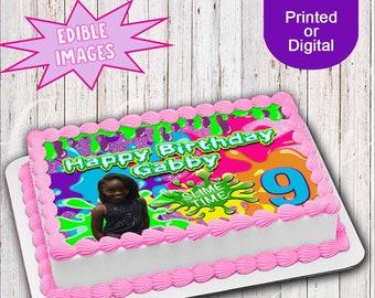 Slime Edible Image Custom Cake Party