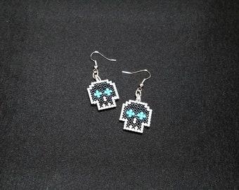 Pixel Skull Earrings, Blue - Cross-Stitch - 8-bit