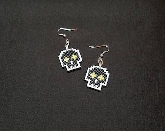 Pixel Skull Earrings, Green - Cross-Stitch - 8-bit