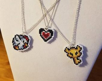 Legend of Zelda Cross-Stitch Necklaces - Link to the Past - Retro Gaming 16-bit SNES Pixel Art