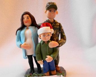 Custom Family Christmas Ornament, Custom Polymer Clay Family Ornament, Custom Family Figurine.   A  Hand Crafted Art Sculpture.