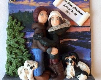First Christmas Married Ornament, Custom Polymer Clay First Married Christmas Ornament.  A  Hand Crafted Art Sculpture.