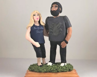 with Background Model D84 Christmas Couple Fully Personalized Bobble Head Clay Figurines Based on Customers Photos