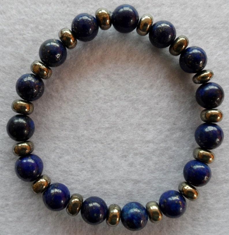 Lapis Lazuli /& Pyrite gemstone s t r e t c h bracelet