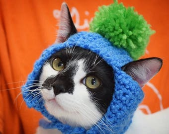 MADE TO ORDER Cat Hat with Pom Pom- Cat Hats- Hats for Cats- Cat Clothes