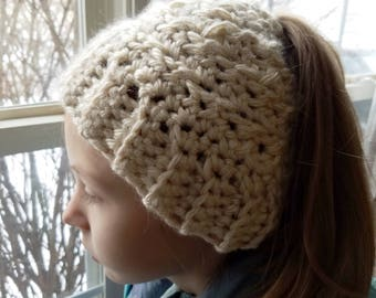 Crochet Messy Bun Hat (Sizes Women's and child)- Ponytail Hat- Bun Hat- Bun Beanie- Ponytail Beanie- Women's Crochet Hat