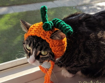 MADE TO ORDER Pumpkin Cat Hat-Cat Hats- Hats for Cats- Pumpkin Cat- Halloween Cat- Costumes for Cats- Clothes for Cats