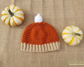 Crochet Pumpkin Pie Hat-pumpkin hat-thanksgiving hats-all sizes