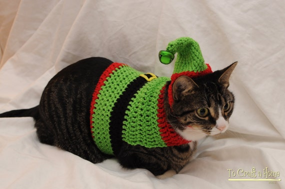 Crochet Elf Cat Sweater, Ugly Christmas Sweater for Cats, Holiday cat  sweater, Clothes for cats