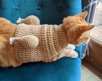 MADE TO ORDER Cooked Turkey Cat Sweater-Thanksgiving Cat Sweater