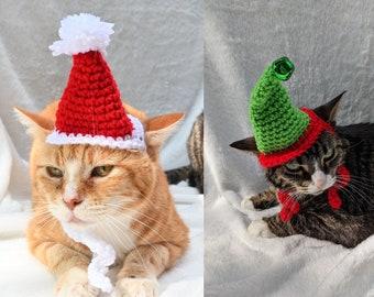 MADE TO ORDER Santa or Elf Mini Cat Hats
