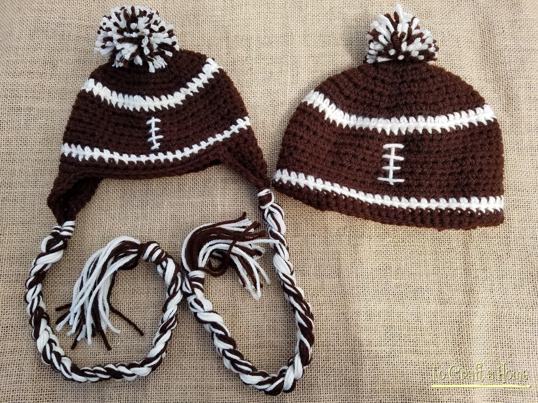 620447e9 Crochet Football Hat- Football earflap hat- football- football beanie- all  sizes