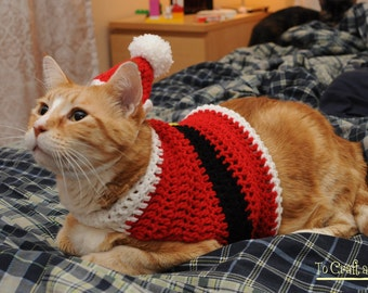 Crochet Santa Suit Cat Sweater- Ugly sweater for cats- Holiday Cat Sweater- Clothes for cats