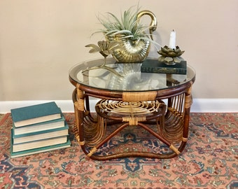 vintage 2 toned rattan side table round glassed top accent table
