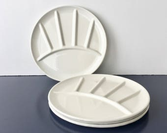vintage enamel fondue plates white metal sushi set of 4