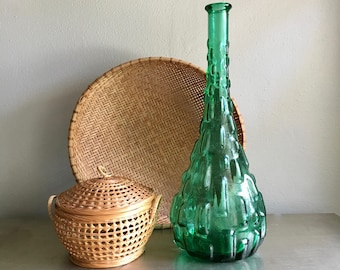 vintage bubble glass bottle decanter green Italy 2 available