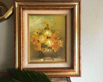 vintage framed painting orange yellow flowers vase still life