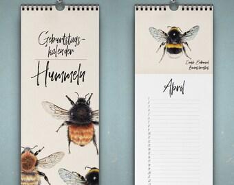 Birthday calendar bumblebees, wall calendar, art calendar, calendar with bumblebees, drawings
