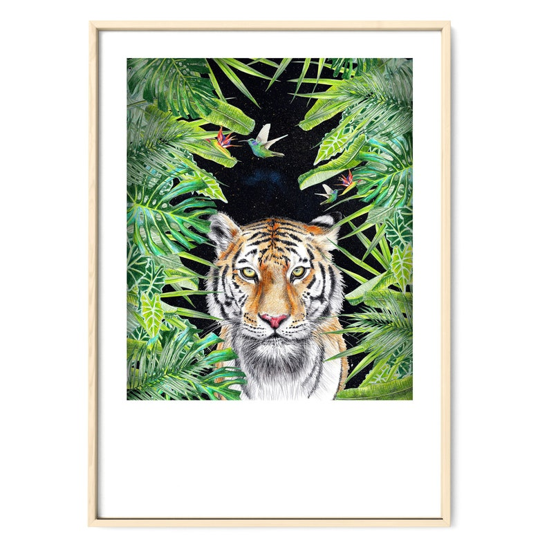 Illustration Tiger in the Jungle Drawing Art Print Poster Wall image 0