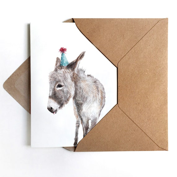 3 Greeting Cards Donkey With Party Hat Greeting Card Donkey Etsy