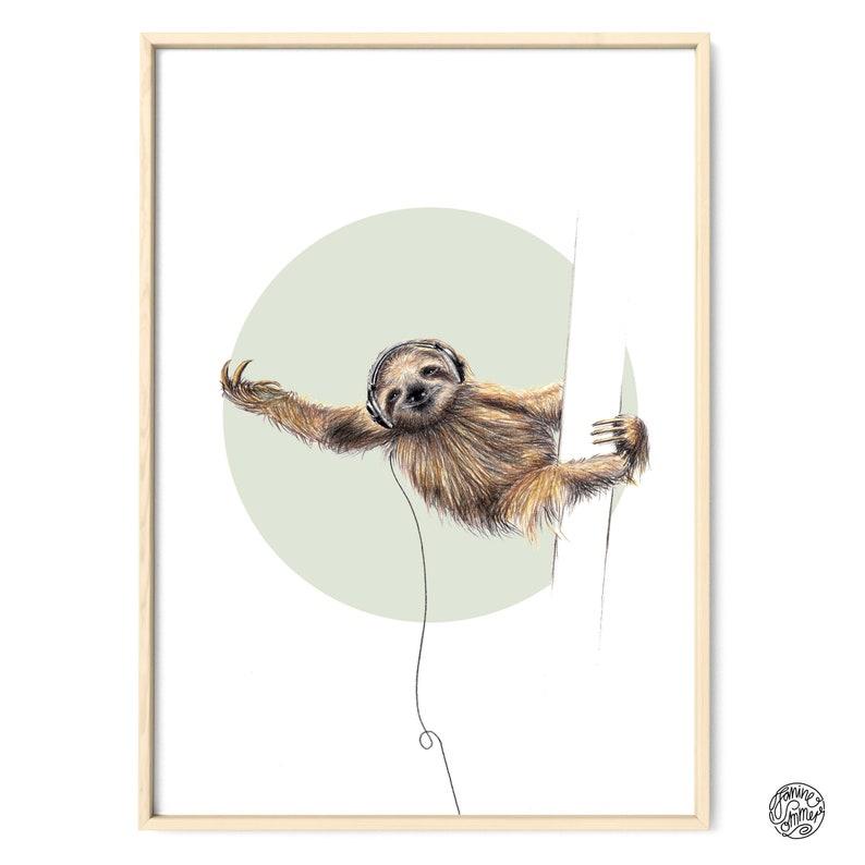 Sloth Portrait Drawing Art Print Illustration Poster Janine image 0