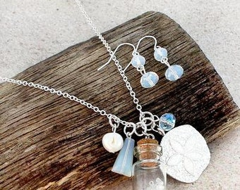 Beach in a bottle charm long necklace and earring set