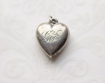 2 Antique Silver Large 3D PUFFY Hearts Charm Pendants 3D  NF LF Love Hearts