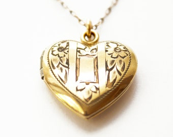 Vintage Gold Filled Heart Locket With Tiny Diamond Costume In Original Box