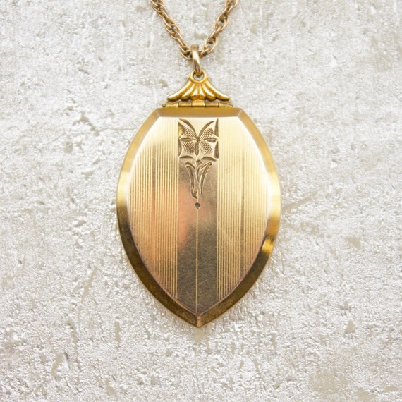 Antique Art Deco Locket Necklace, vintage gold fil