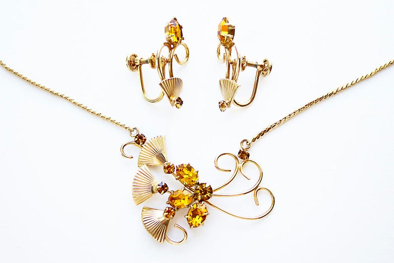 citrine glass rhinestone demi parure Vintage Necklace and Earring Set retro gold-filled rhinestone necklace retro necklace set 1940s set