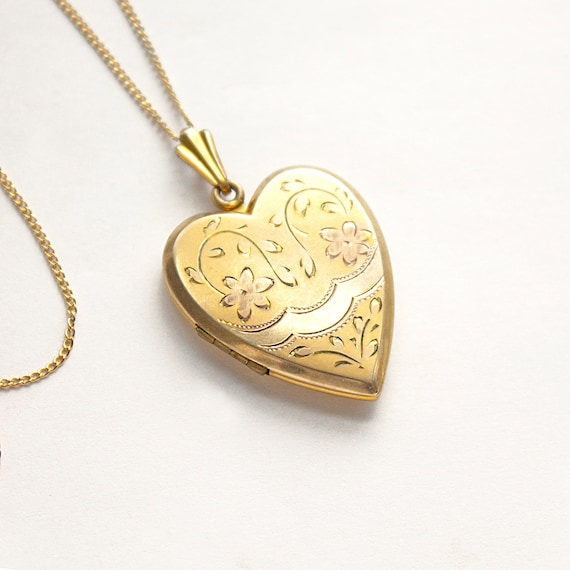 Vintage Gold Filled Heart Locket Necklace, yellow