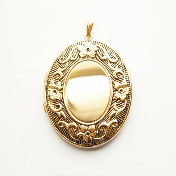 Large Gold Filled Locket, vintage gold filled oval