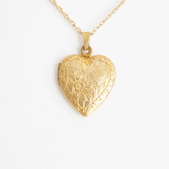 Vintage Monogram D Gold Filled Heart Locket Neckla