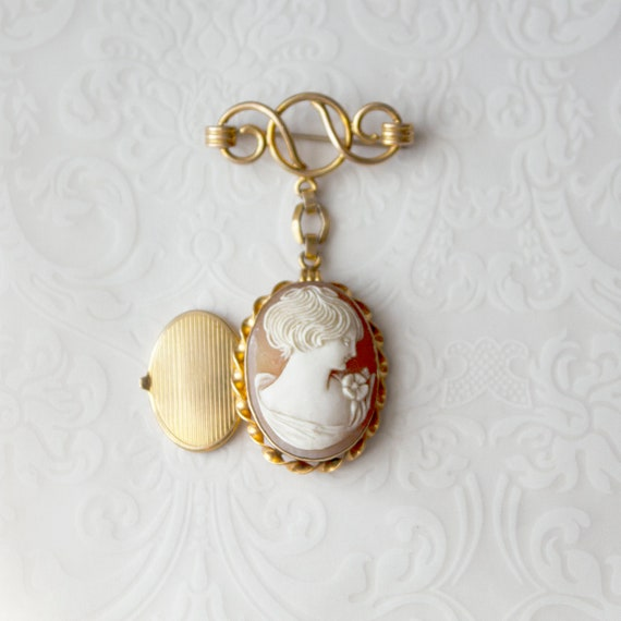 Vintage Cameo Locket Brooch, carved shell cameo lo