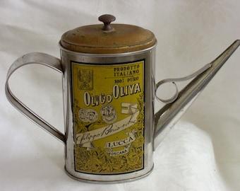 Vintage Olio Du0027Oliva Olive Oil Dispenser Lucca Toscana Pitcher Rustic Tin  Can Retro Kitchen Decor