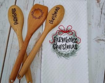 Farmhouse Christmas Gift - Christmas Towel - Christmas Hostess Gift - Farmhouse Christmas Gift Set - Farmhouse Wooden Spoon -Christmas Spoon