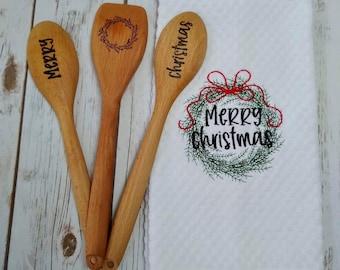 Merry Christmas Gift - Christmas Towel - Christmas Hostess Gift - Merry Christmas Gift Set - Merry Christmas Wooden Spoon -Christmas Spoon