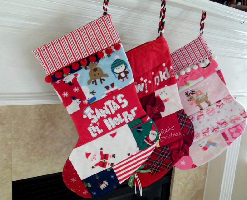 Babys First Christmas Stocking  Christmas Stocking  Upcycled image 0