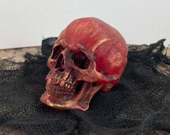 Detailed miniature art skull decor - Translucent red/copper finish