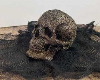 Detailed miniature art skull decor - Bog aged finish