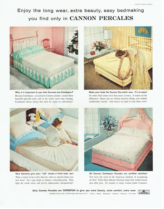 1957 Cannon Percales Bed Sheets Advertisement