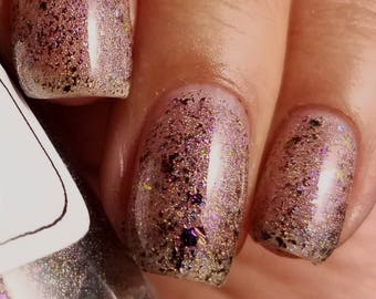 No Such Thing As Overdressed Nail Polish - holographic topper with color-shifting metallic flakes