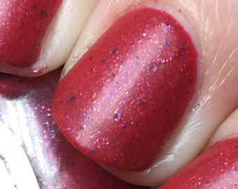 Sausage King of Chicago Nail Polish - satin-finish bright rose pink with flakies