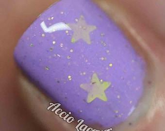 LSP Nail Polish -  bright lavender with gold stars / vegan / nontoxic / cruelty free