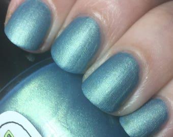 Rules of Acquisition Nail Polish - matte brilliant metallic blue-green / vegan / nontoxic / cruelty free