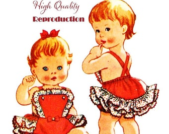 Vintage 1950s Toddler or Life Size Doll Ruffled Sun Suit and Topper Reproduction Sewing Pattern