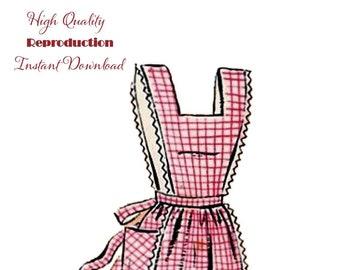 PDF Vintage 1940s Misses' Bib Apron Reproduction Sewing Pattern